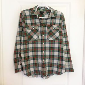 J Crew Holiday Stewart Tartan Plaid Boyfriend Shrt